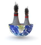 Coal plant. Half of an earth globe with a coal plant; earth map courtesy of nasa.gov (3d render Royalty Free Stock Images