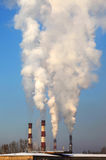 Coal plant smoke stacks. Stock Photos