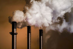 Coal Plant Smoke Stacks Stock Image