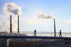 Coal Plant Smoke Stacks. Air pollution in the city Stock Photography
