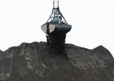 Coal Powder and clamshell bucket Royalty Free Stock Photo