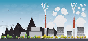 Coal power plant with black coal behind it Royalty Free Stock Photography