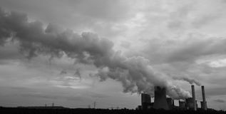 Coal power plant in black and white Stock Photos