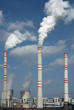 coal power plant with chimney and cooling towers Royalty Free Stock Images