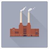 Coal power plant flat design vector illustration Stock Photo