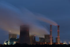 Coal power plant in the night Royalty Free Stock Photography