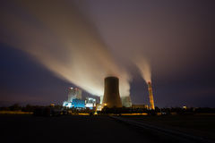 Coal power plant in the night Royalty Free Stock Photos
