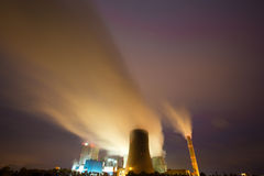 Coal power plant in the night Royalty Free Stock Images