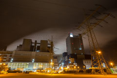 Coal power plant in the night Stock Photography