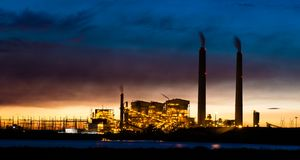 Coal power plant at night Stock Images