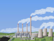 Coal power plant. Picture of coal-fired power plant with chimneys and cooling towers. Vector illustration Royalty Free Stock Image