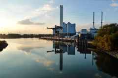 Coal power plant r on the side of a Canal, Germany royalty free stock photo