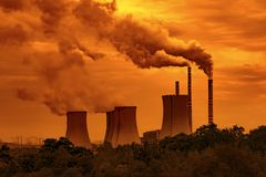 Coal power plant at sunset sky. Czech Republic stock photography
