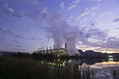 Coal power plant in the twilight time Royalty Free Stock Photos
