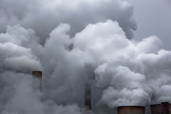 Coal power station. Steam comes out of chimneys at a coal power station Royalty Free Stock Photos