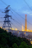 Coal power station and night blue sky Royalty Free Stock Photo