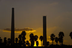 Coal power station in sunset Stock Photo