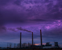 Coal powered plant and smoke stacks Stock Photography