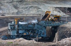 Coal-preparation plant. Big  mining truck at work site coal tran Royalty Free Stock Photos