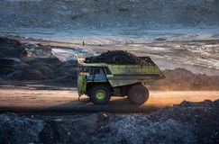Coal-preparation plant. Big mining truck at work site coal trans. Portation Stock Images