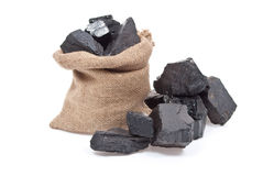 Coal in sack Stock Images