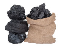 Coal in sack Stock Photos