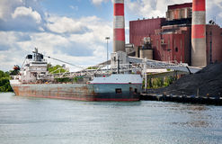 Coal Ship at Power plant Detroit River Stock Photo