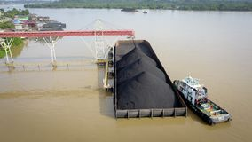 Coal Shipping transportation cargo Aerial Borneo Indonesiaa stock image