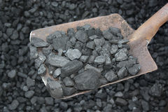 Coal with shovel Royalty Free Stock Image