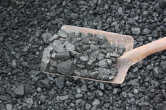 Coal with shovel Royalty Free Stock Photography