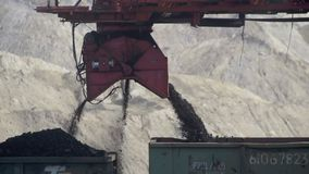 Coal sorting by fractions, coal transportation by rail. HD stock footage
