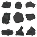 Coal stones set. Flat vector cartoon illustration. Objects isolated on white background stock illustration