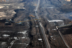 Coal surface mining. Site with exploitation mechanization Stock Photography
