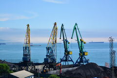 Coal terminal in the port. Royalty Free Stock Images