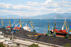 Coal terminal in the port of Nakhodka Royalty Free Stock Images