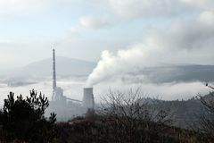 Thermal reactor. Coal thermal power plant air pollution Stock Images