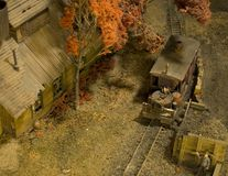 Coal town minature railroad. Miniature model train and village set Royalty Free Stock Photography