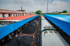 Coal Train - India. Coal train waiting at station in India, gray sky ahead Stock Images