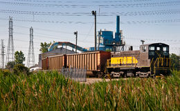 Coal Train Power Plant Unload Stock Image