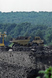 Coal truck. Dump truck hauling coal at strip mine in oklahoma stock photo