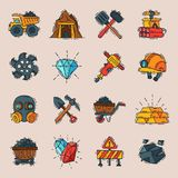 Coal vector mining engineering industry work business construction factory line mine icons illustration with moning Royalty Free Stock Photos