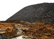 Coal waste heap, terricone, isolated on white Stock Photo
