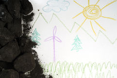 Coal and windmill. Coal and children's picture with windmill Royalty Free Stock Photography