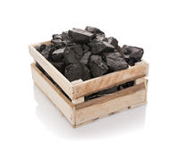 Coal in a wooden box Royalty Free Stock Photography