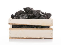 Coal in a wooden box Stock Image