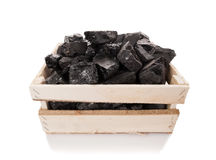 Coal in a wooden box Royalty Free Stock Photos