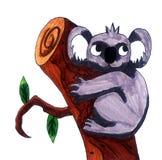 Coala adorável que abraça uma árvore ilustração royalty free