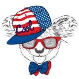 Coala bonito em um tampão e em um laço Vetor da coala Cartão com urso austrália América, EUA Vidros vestindo da coala ilustração stock