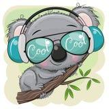 A coala dos desenhos animados est? sentando-se em uma ?rvore ilustração stock