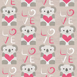 Koala with heart seamless pattern Stock Photo